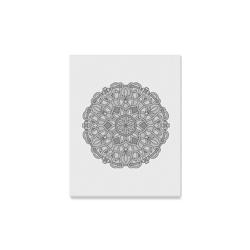 """New canvas in Shop : hand-drawn greyscale Mandala art on white. New christmas Gift edition Canvas Print 14""""x11"""""""