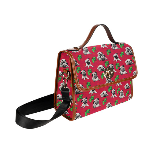 Pugs and Mistletoe on Christmas Red Waterproof Canvas Bag/All Over Print (Model 1641)