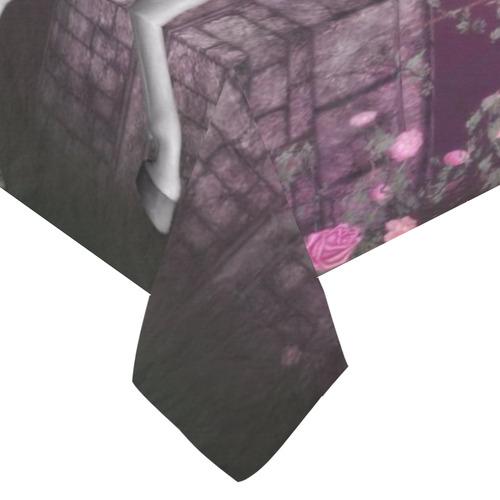 """unicorn in a roses garden Cotton Linen Tablecloth 60""""x 104"""""""