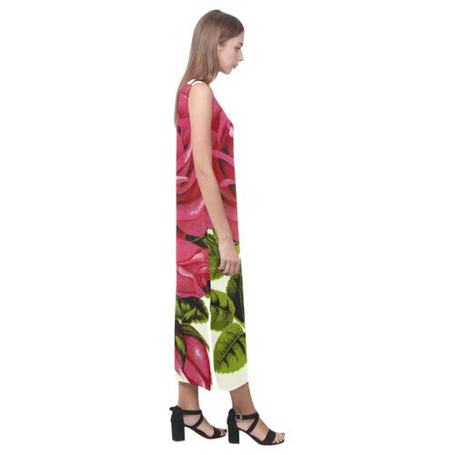 Beautiful Red Rose Flower Vintage Floral Phaedra Sleeveless Open Fork Long Dress (Model D08)