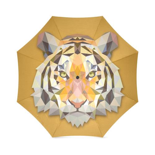 Tiger Abstract Triangles Fine Animal Art Foldable Umbrella (Model U01)