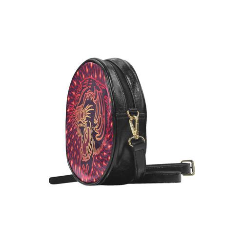 Roaring TIGER TATTOO Red Black EXPLOSION Round Sling Bag (Model 1647)