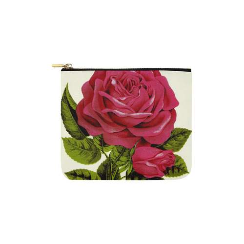 Beautiful Red Rose Flower Vintage Floral Carry-All Pouch 6''x5''