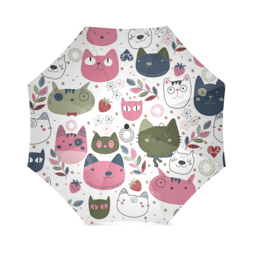 Pink Black White Cute Cats Hearts Flowers Foldable Umbrella