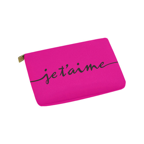 Romantic je t'aime - french love - black Carry-All Pouch 9.5''x6''