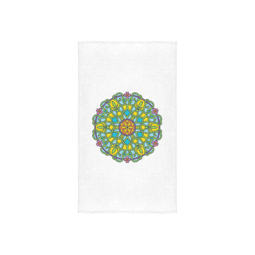 "Original vintage hand-drawn Mandala edition. Green and blue authentic art collection Custom Towel 16""x28"""