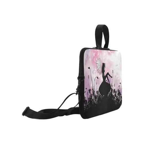 """Pink Fairy Silhouette with bubbles Laptop Handbags 17"""""""