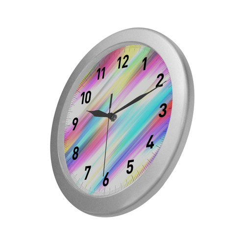 Rainbow Stripe Abstract Silver Color Wall Clock