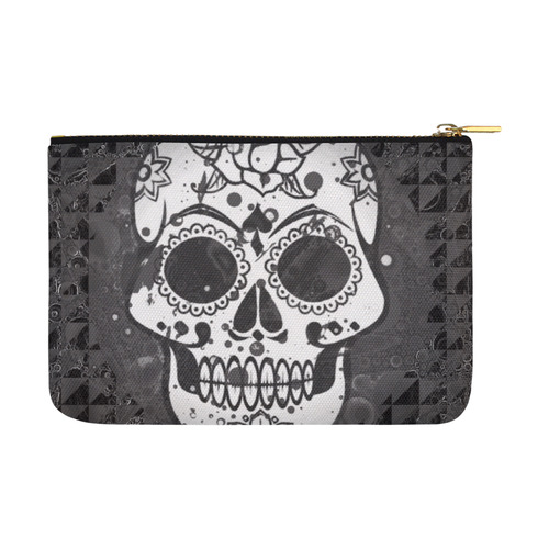 black and white Skull Carry-All Pouch 12.5''x8.5''