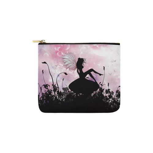 Pink Fairy Silhouette with bubbles Carry-All Pouch 6''x5''