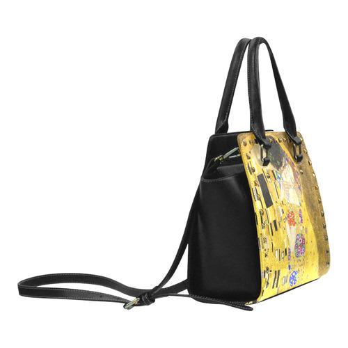 The Kiss Gustav Klimt Fine Art Rivet Shoulder Handbag (Model 1645)