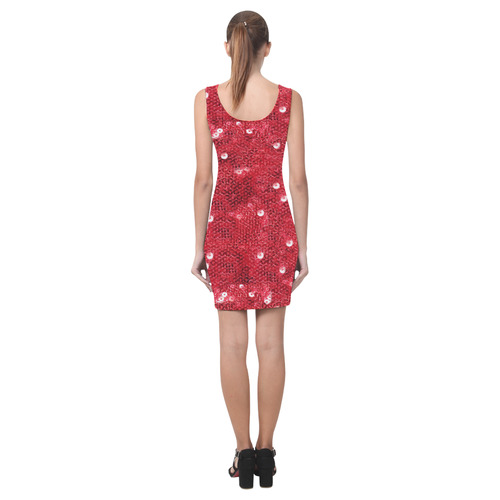 Red Sparkling Sequin-Like Pattern Medea Vest Dress (Model D06)