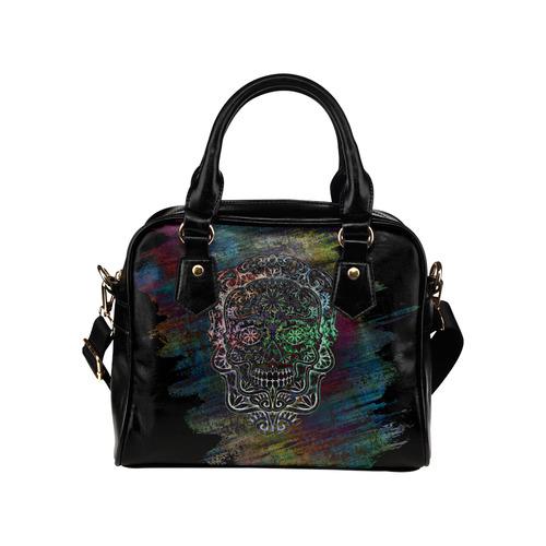 Día De Los Muertos Skull Ornaments Full Brush Shoulder Handbag (Model 1634)