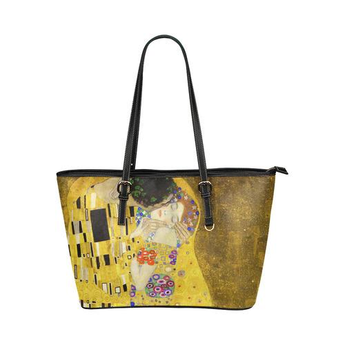 The Kiss Gustav Klimt Fine Art Leather Tote Bag/Small (Model 1651)