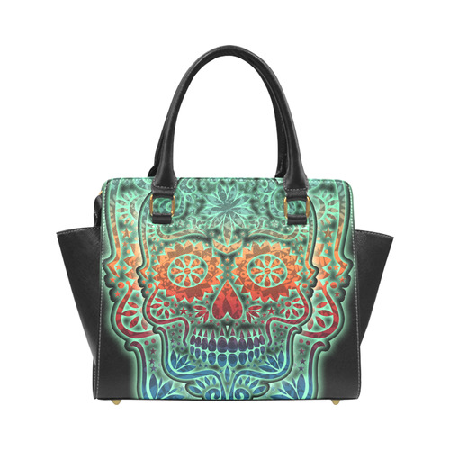 Día De Los Muertos DOUBLE SKULL Ornaments Grunge Rivet Shoulder Handbag (Model 1645)
