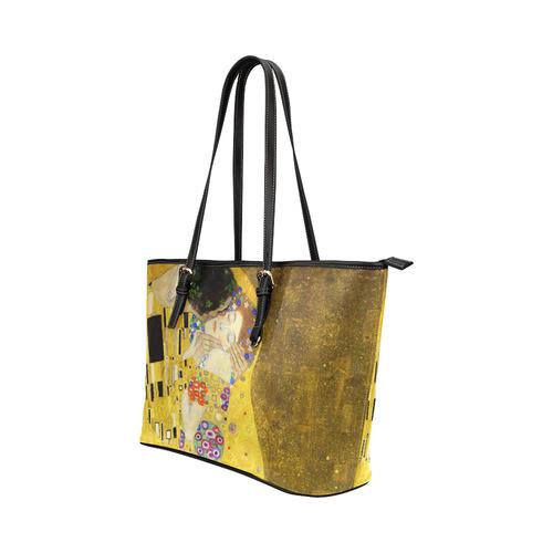 The Kiss Gustav Klimt Fine Art Leather Tote Bag/Large (Model 1651)