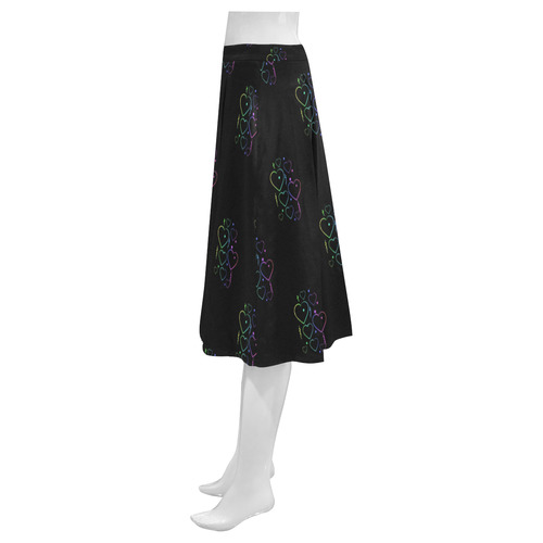 Rainbow Love Hearts & Streamers on Black Mnemosyne Women's Crepe Skirt (Model D16)