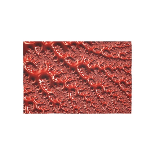 "Cool Red Fractal White Lights Cotton Linen Wall Tapestry 60""x 40"""