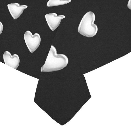 "Silver 3-D Look Valentine Love Hearts on Black Cotton Linen Tablecloth 52""x 70"""