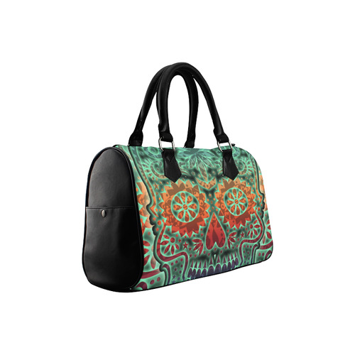 Día De Los Muertos DOUBLE SKULL Ornaments Grunge Boston Handbag (Model 1621)