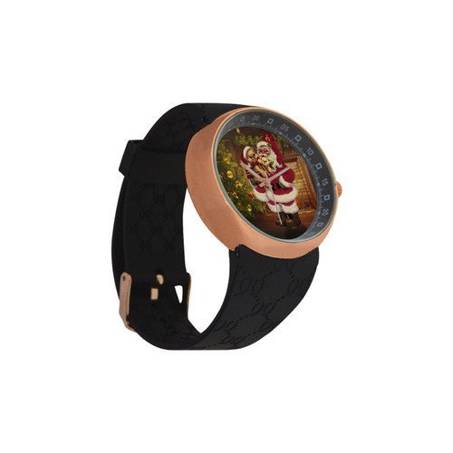 A cute Santa Claus with many christmas gifts Men's Rose Gold Resin Strap Watch(Model 308)