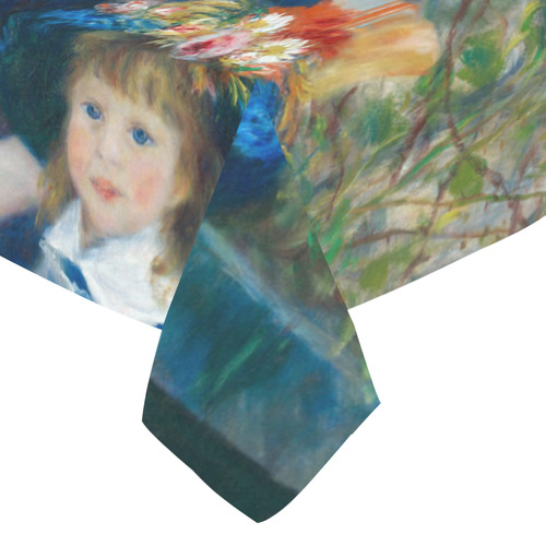 "Renoir Two Sisters Terrace Floral Fine Art Cotton Linen Tablecloth 52""x 70"""