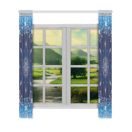 """Chic Blue Christmas Design Window Curtain 52""""x120""""(Two Piece)"""