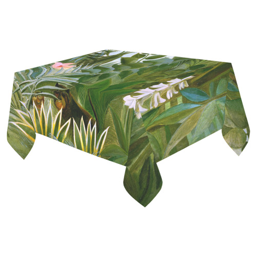 "Henri Rousseau Tropical Jungle Flowers Animals Cotton Linen Tablecloth 52""x 70"""