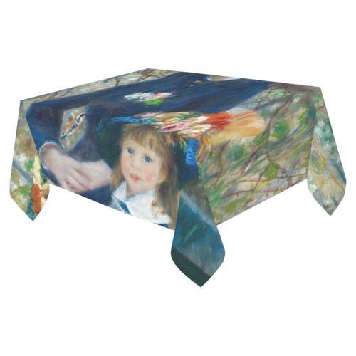 """Renoir Two Sisters Terrace Floral Fine Art Cotton Linen Tablecloth 52""""x 70"""""""