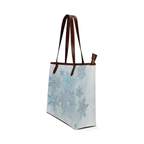 Snowflakes, snow, white and blue Shoulder Tote Bag (Model 1646)