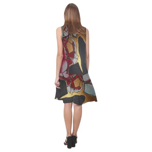 Sxisma Fashion Shift Dress Collection-11 Sleeveless Splicing Shift Dress(Model D17)