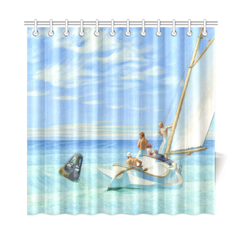 Edward Hopper Ground Swell Sail Boat Ocean Shower Curtain 72x72