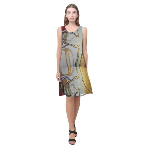 Sxisma Fashion Shift Dress Collection-12 Sleeveless Splicing Shift Dress(Model D17)