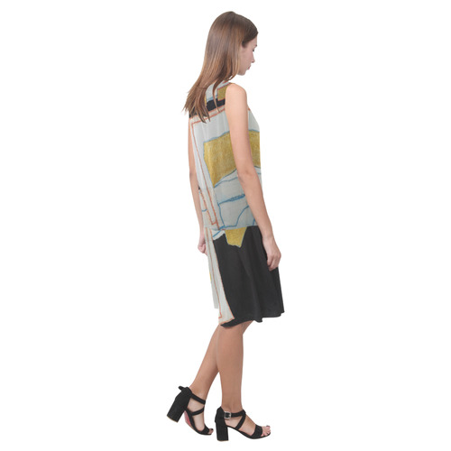 Sxisma Fashion Shift Dress Collection-7 Sleeveless Splicing Shift Dress(Model D17)
