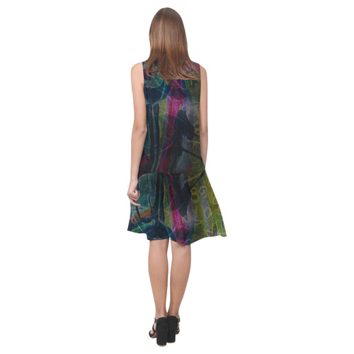 Sxisma Fashion Shift Dress Collection-3 Sleeveless Splicing Shift Dress(Model D17)