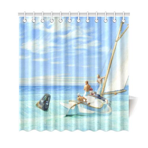 Edward Hopper Ground Swell Sail Boat Ocean Shower Curtain 69x72