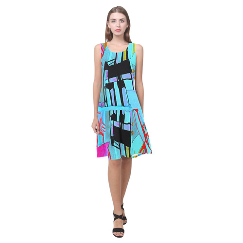 Sxisma Fashion Shift Dress Collection-2 Sleeveless Splicing Shift Dress(Model D17)