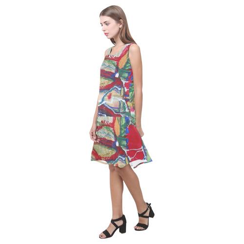 Sxisma Fashion Shift Dress Collection-5 Sleeveless Splicing Shift Dress(Model D17)