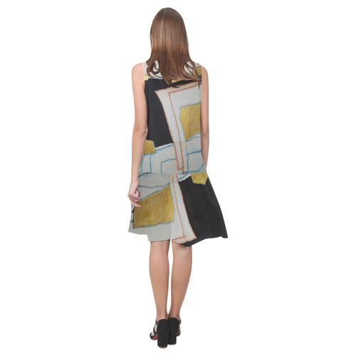 Sxisma Fashion Shift Dress Collection-7 Sleeveless Splicing Shift Dress(Model D17)