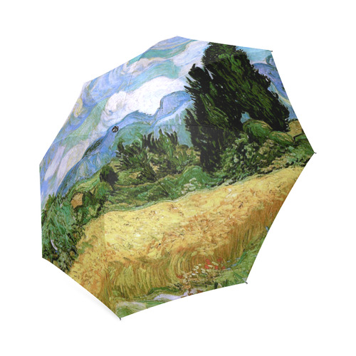 Van Gogh Wheat Field Cypresses Nature Landscape Foldable Umbrella