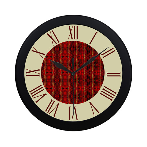 Red Gold Old Oriental Pattern Watch Circular Roman Numerals Hand 3 - 3-roman-numerals-clocks