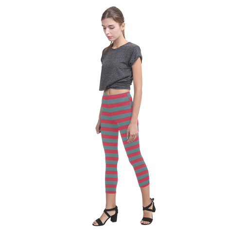Christmas Red and Green Stripes Capri Legging (Model L02)
