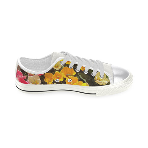 Yellow Pink Flowers Canvas Women's Shoes/Large Size (Model 018)