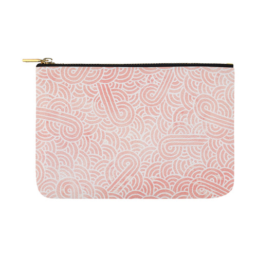 Coral pink and white swirls doodles Carry-All Pouch 12.5''x8.5''