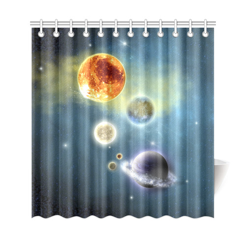 Space Scenario With Meteorite Sun And Planets Shower Curtain 69x72