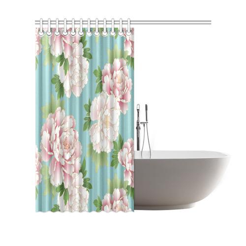 "Pink Peonies Vintage Japanese Floral Kimono Shower Curtain 69""x70"""