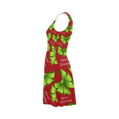 Merry Christmas Green Bows on Red Atalanta Sundress (Model D04)