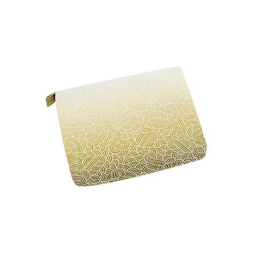 Ombre yellow and white swirls doodles Carry-All Pouch 6''x5''