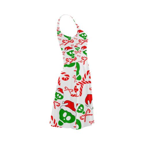 Christmas Santa Skull and Candy Cane Crossbones Atalanta Sundress (Model D04)