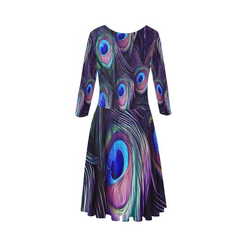 Peacock Feather Elbow Sleeve Ice Skater Dress (D20)